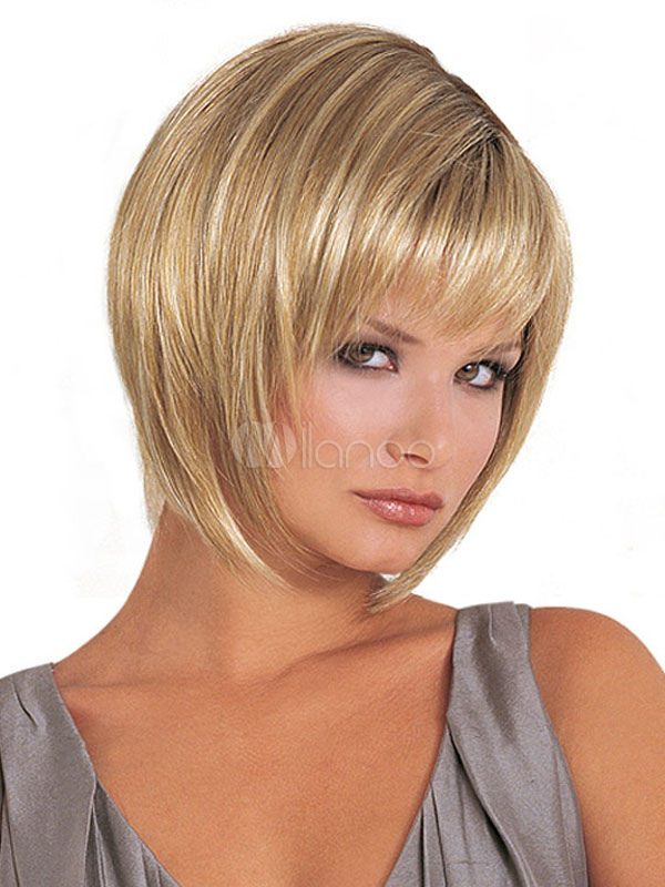 Buy Short Blonde Wigs Pixies And Boycuts Layered Synthetic Straight Wigs With Bangs For Women for $12.59 in Milanoo store