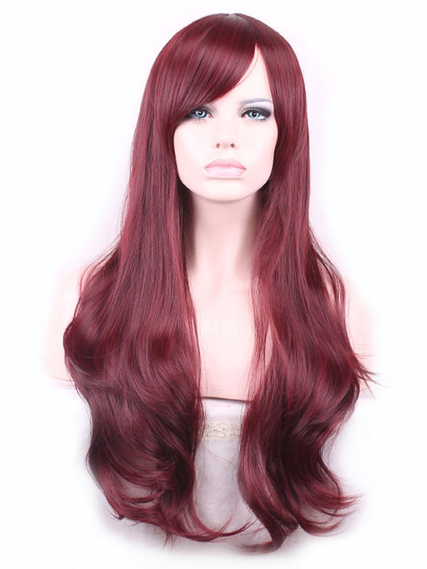 Burgundy Long Wigs Body Wave Curls Tousled Women Synthetic Wig With Side Swept Bangs