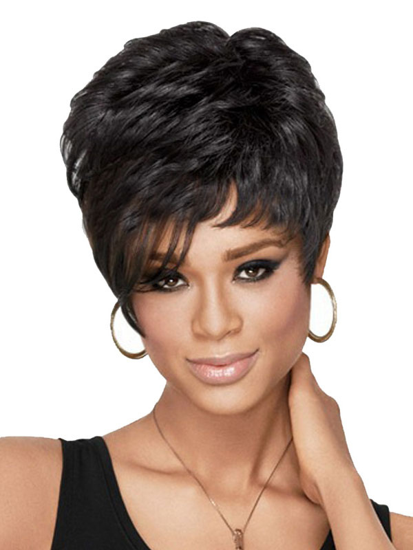 Buy Black Short Wigs African American Curly Tousled Women's Synthetic Wigs for $12.59 in Milanoo store