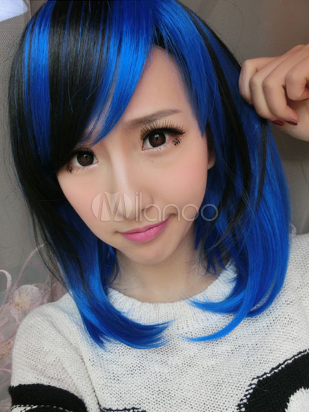 Carnival Hair Wigs Highlighting Blue Short Bobs With Side Swept Bangs For Women Cheap clothes, free shipping worldwide