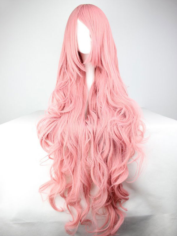 Women's Carnival Wigs Salmon Pink Tousled Full Volume Wave Long Synthetic Wigs With Sideburns Cheap clothes, free shipping worldwide