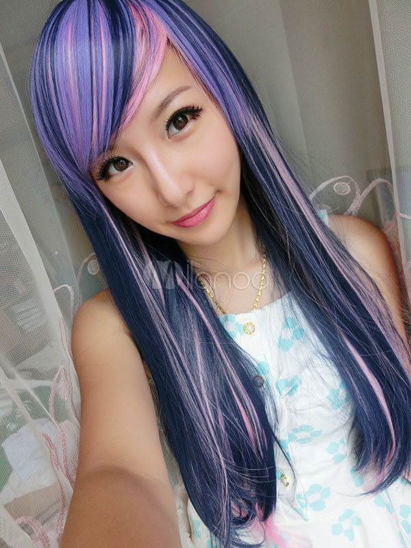Carnival Hair Wigs Highlighting Layered Long Straight Wigs With Side Swept Fringe Cheap clothes, free shipping worldwide