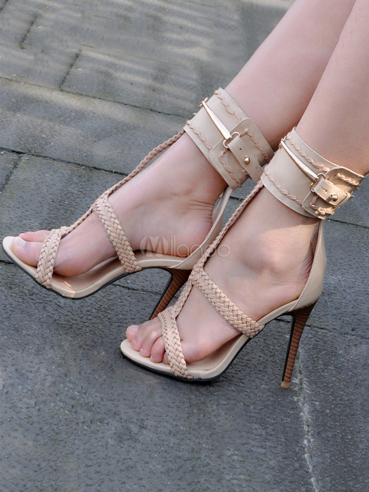 Buy High Heel Sandals Apricot Strappy Ankle Buckled Stiletto Wood Heel Sandals for $71.99 in Milanoo store