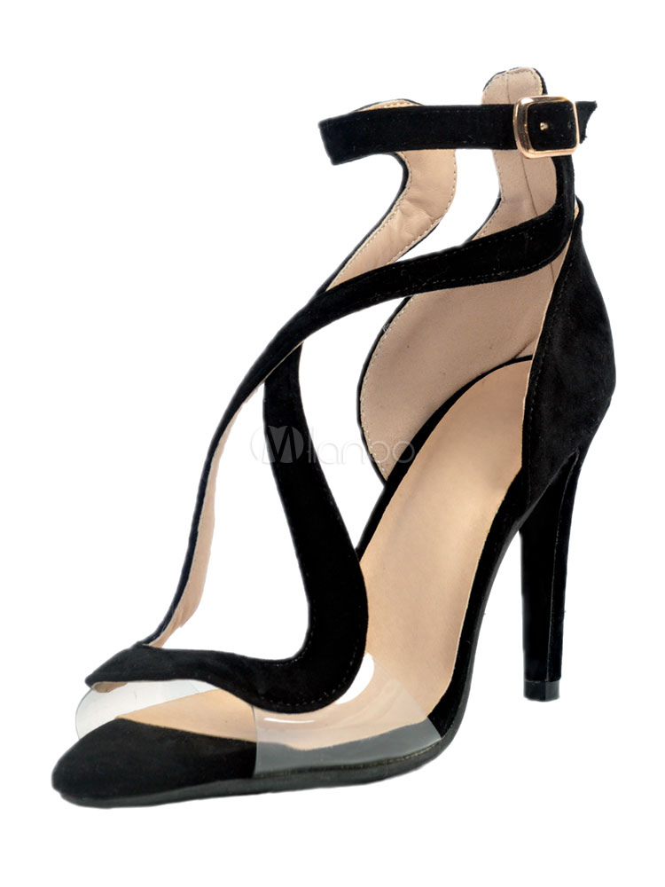 Buy Black Suede Sandals Peep Toe Transparent Upper Strappy Buckled Stiletto Women's High Heel Sandals for $53.09 in Milanoo store