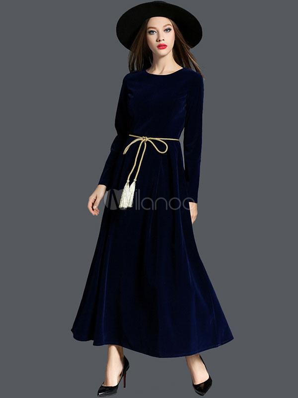 robe longue en velours de soie unicolore avec ceinture col. Black Bedroom Furniture Sets. Home Design Ideas