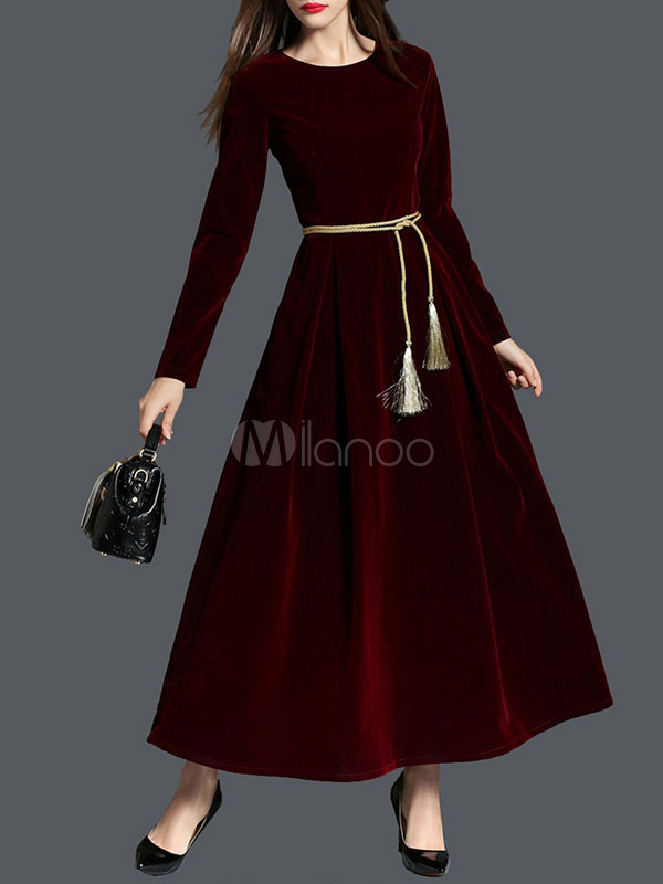 Buy Burgundy Long Dress Round Neck Long Sleeve Waist Tassel Pleated Luxurious Velour Dress for $42.49 in Milanoo store