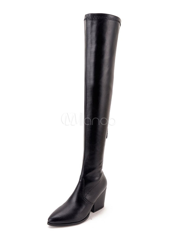 Buy Over Knee Boots High Heel Women's Pointed Toe Thigh High Boots for $47.49 in Milanoo store