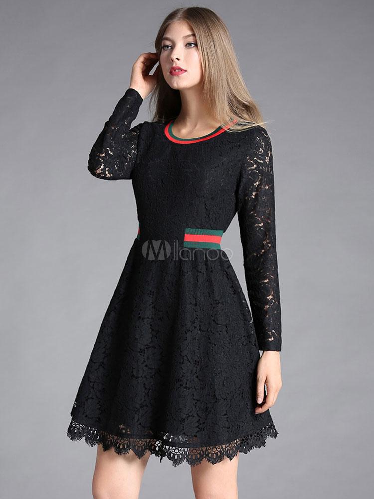 c5e1775757d Robe en dentelle noire pour femme avec rayure en dentelle mode travail  printemps -No.