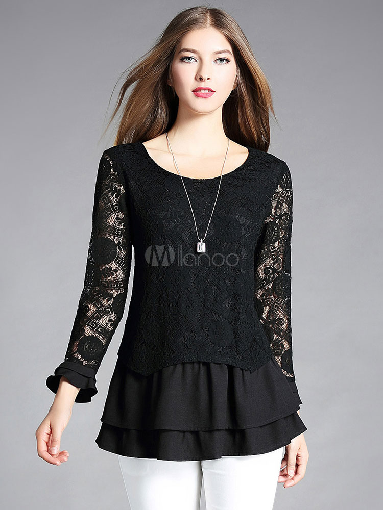 Buy Black Lace Blouses Round Neck Long Sleeve Ruffles Layered Women's Top for $32.19 in Milanoo store