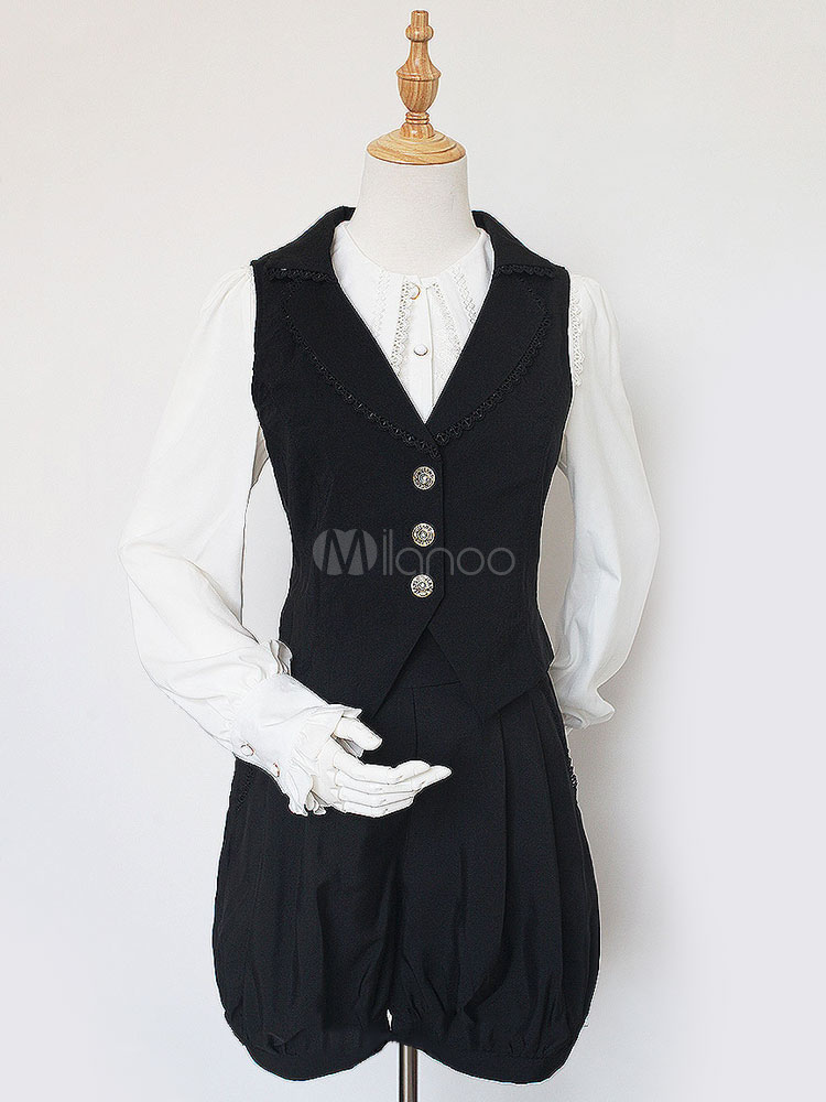 Classic Lolita Outfits Neverland Black V Neck Sleeveless Waistcoat With Shorts