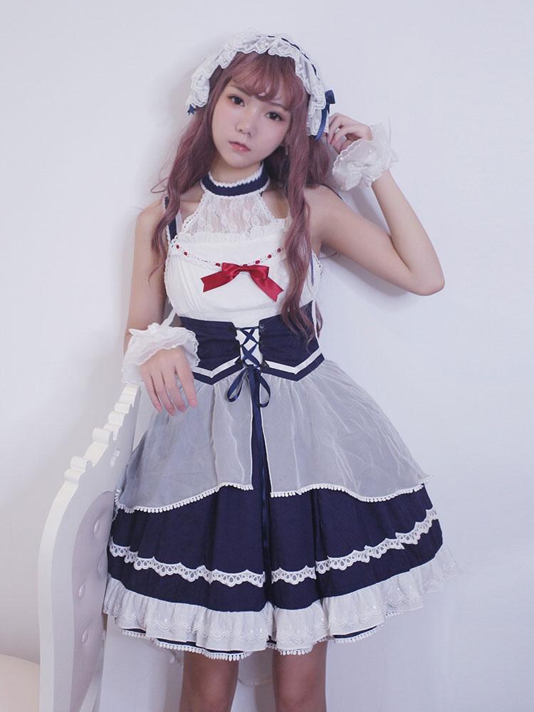 Buy Classic Lolita JSK Jumper Skirt Neverland Ruffles Pleated Chiffon Two Tone Deep Blue Lolita Dresses for $179.99 in Milanoo store