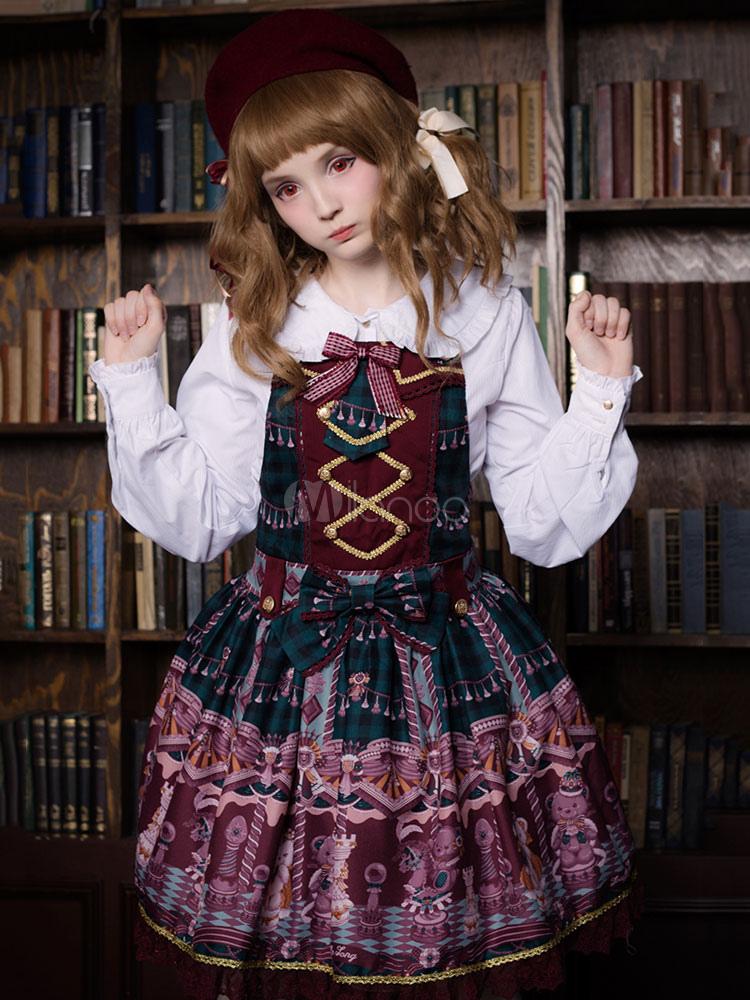 Buy Classic Lolita JSK Jumper Skirt Neverland Bear Printed Pleated Fuchsia Lolita Dresses for $174.99 in Milanoo store