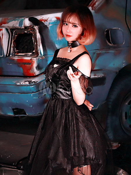 Buy Gothic Lolita OP One Piece Dress Neverland Square Neck Cold Shoulder Chiffon Pleated Black Lolita Dresses for $143.99 in Milanoo store