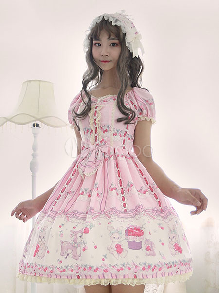 Buy Sweet Lolita OP One Piece Dress Neverland Square Neck Puff Sleeve Chiffon Pleated Bunny Printed Pink Lolita Dresses for $165.59 in Milanoo store