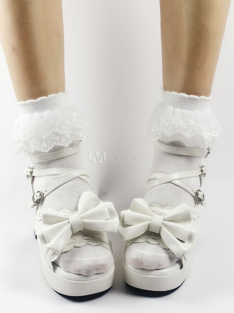 Sweet Lolita Sandals Open Toe Puppy Heel Bows PU White Lolita Shoes