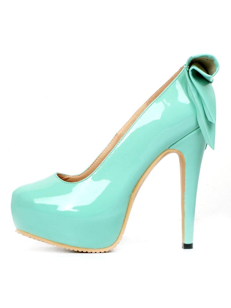 Women S Platform Heels Round Toe High Heel Stiletto Bows