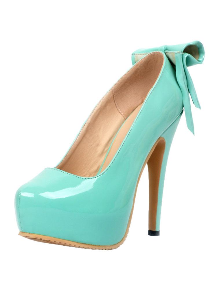 1909bd8a7a Women's Platform Heels Round Toe High Heel Stiletto Bows PU Light Sky Blue  Pumps- ...