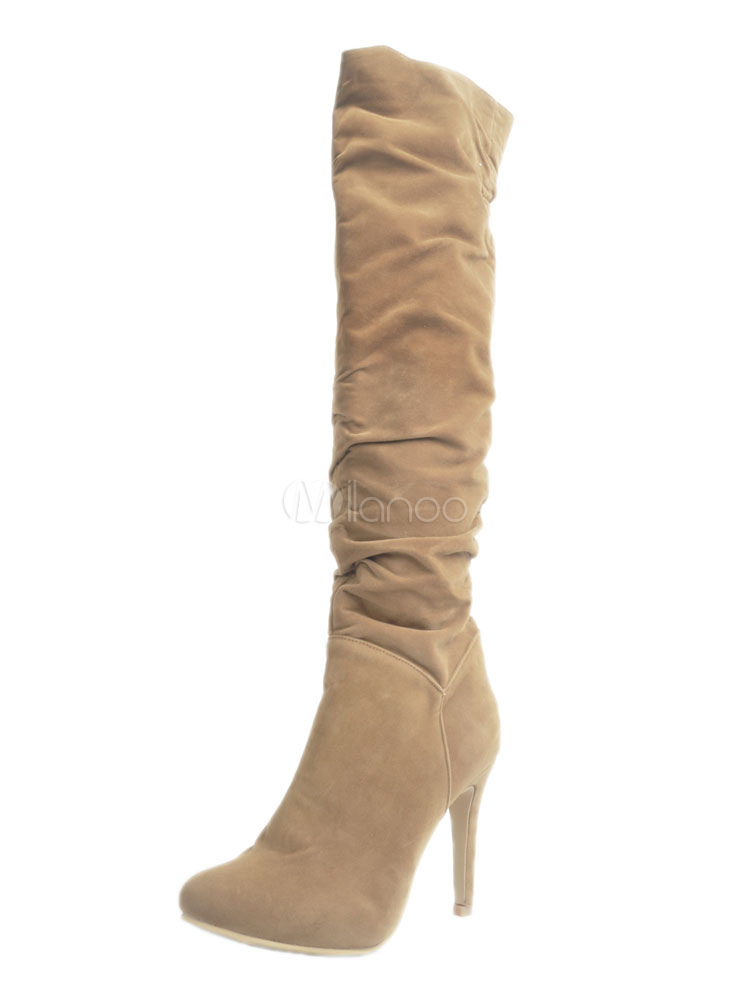 Knee High Boots Light Brown Pointed Toe Ruched High Heel Boots For Women
