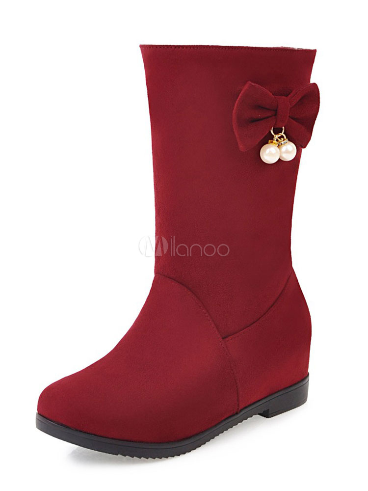 Buy Winter Women's Boots Round Toe Flat Bows Suede Red Slip On Mid Calf Boots for $33.24 in Milanoo store