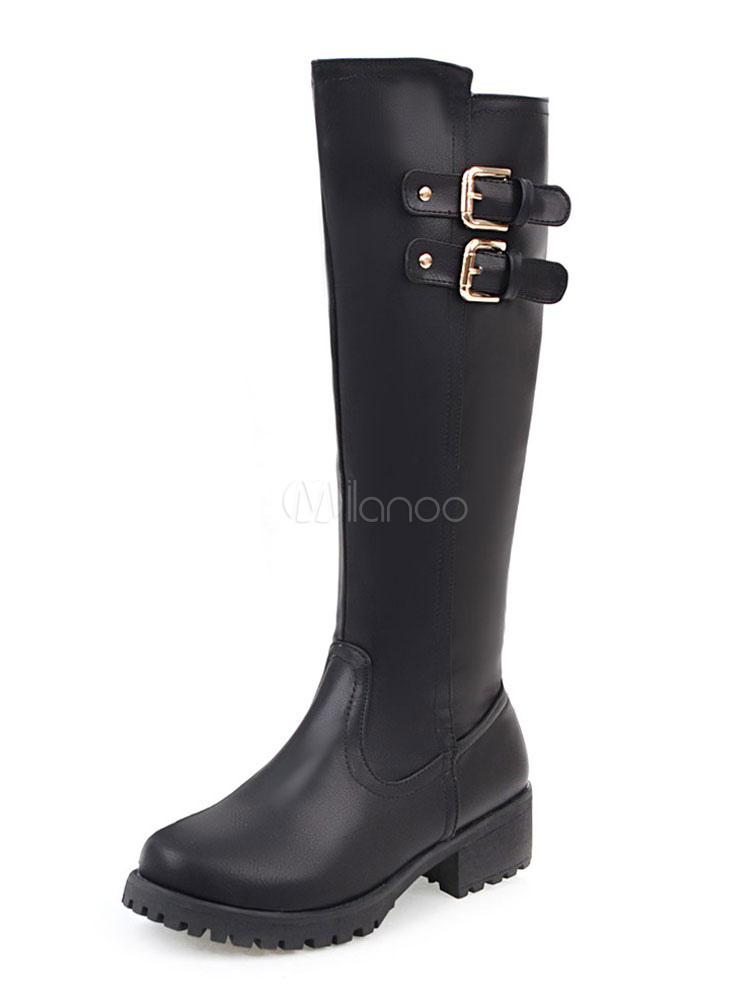 Black Mid Calf Boots Women's Chunky Heel Round Toe PU Buckled Winter Boots