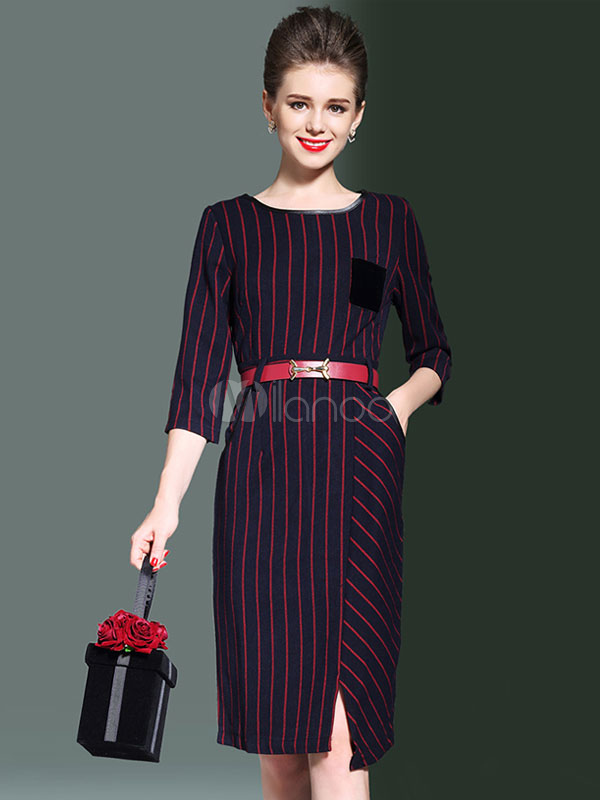 Buy Burgundy Bodycon Dress Round Neck 3/4 Length Sleeve Striped Slit Women's Wrap Dress With Belt for $36.79 in Milanoo store