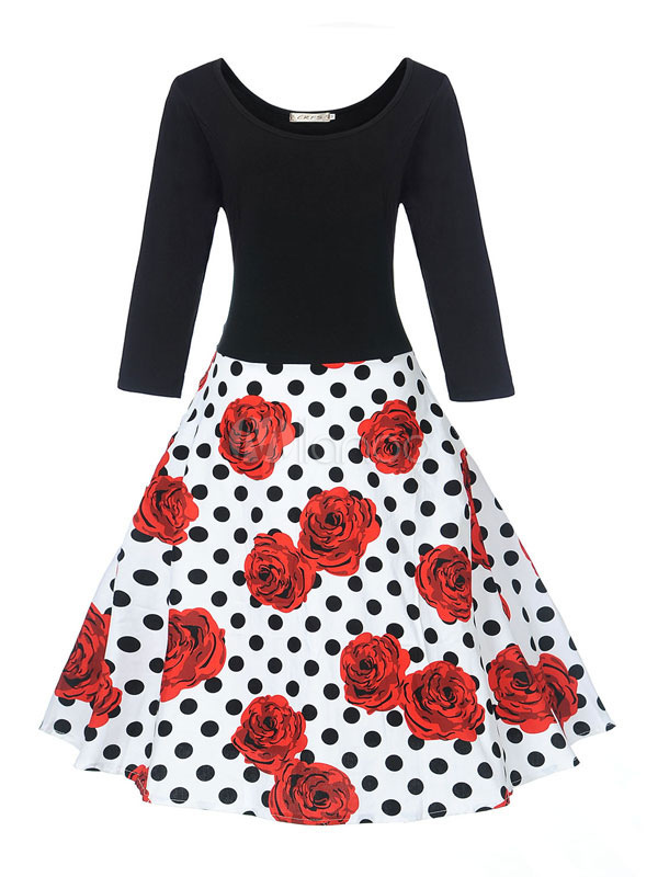Buy Cotton Vintage Dress Rose Print Round Neck Long Sleeve Shaping Pleated Flare Dress for $32.19 in Milanoo store