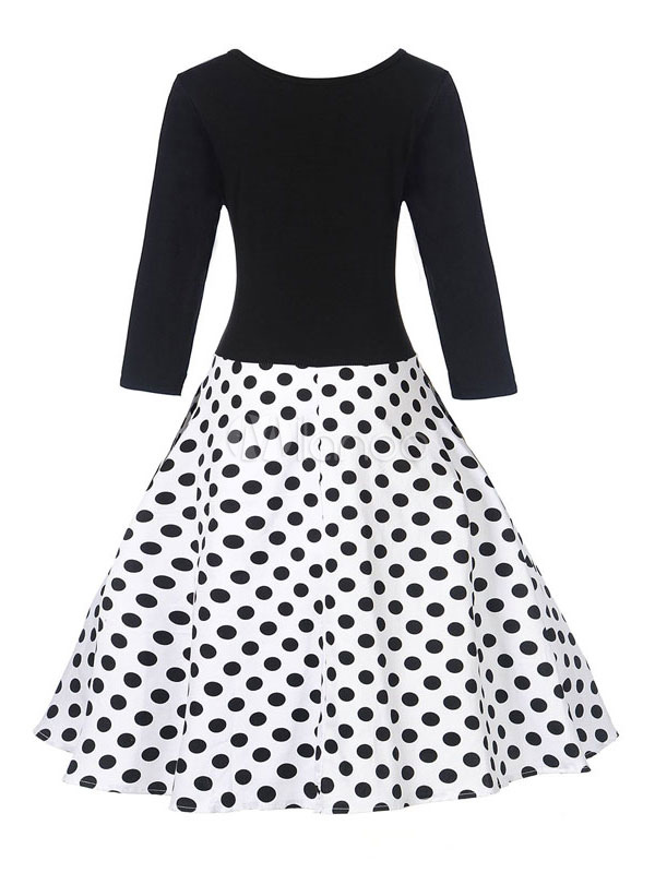 Cotton Vintage Dress Polka Dot Round Neck Long Sleeve Pleated Flare Dress