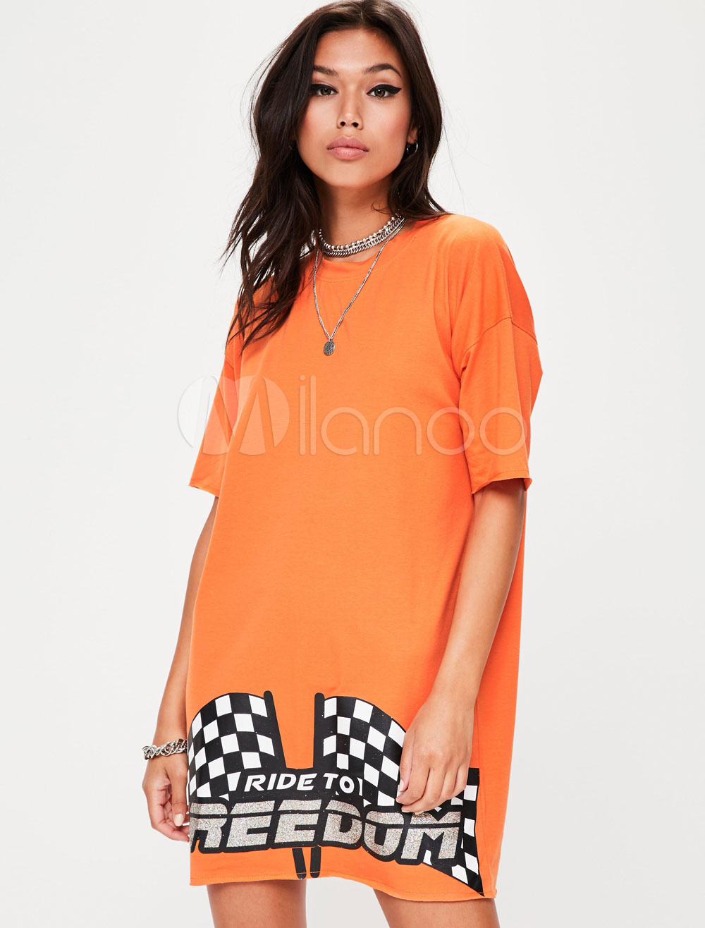 Buy Orange Shift Dresses Round Neck Half Sleeve Printed T Shirt Dress For Women for $35.99 in Milanoo store