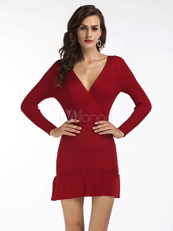 Buy Burgundy Bodycon Dresses V Neck Long Sleeve Ruffles Shaping Short Dress For Women for $28.49 in Milanoo store