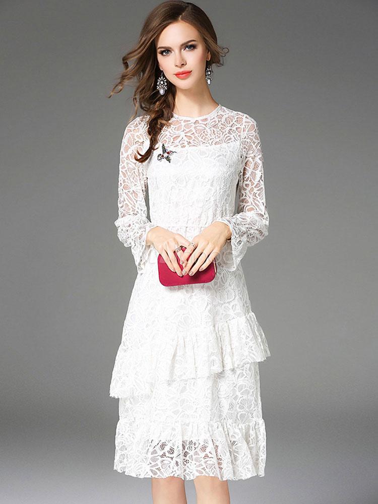 Черно белое кружевное платье фото бежевый