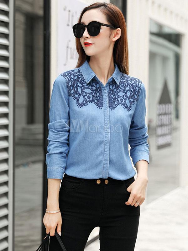 94a0e6cbdc Blusa de tela vaquera azul de cuello vuelto con manga larga con bordado  estilo moderno- ...