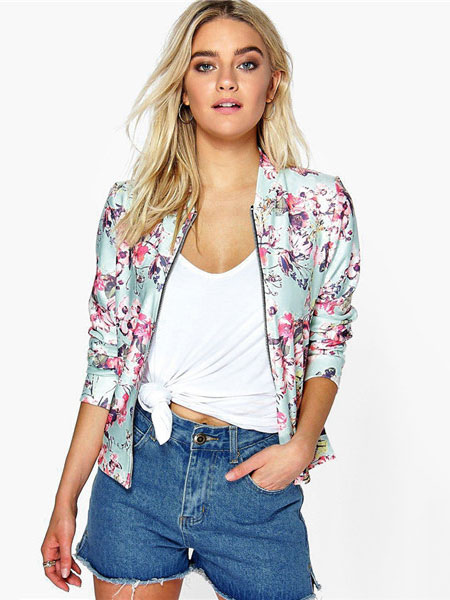 Green Varsity Jacket Round Neck Long Sleeve Floral Print Short Jackets For Women