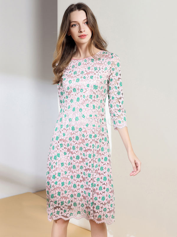Buy Pink Skater Dress Women's Round Neck 3/4 Length Sleeve Floral Printed Slit Flare Dress for $41.39 in Milanoo store