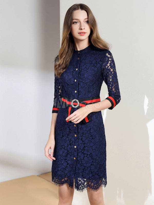 Buy Blue Lace Dress Crewneck 3/4 Length Sleeve Slim Fit Short Dress With Sash for $53.99 in Milanoo store