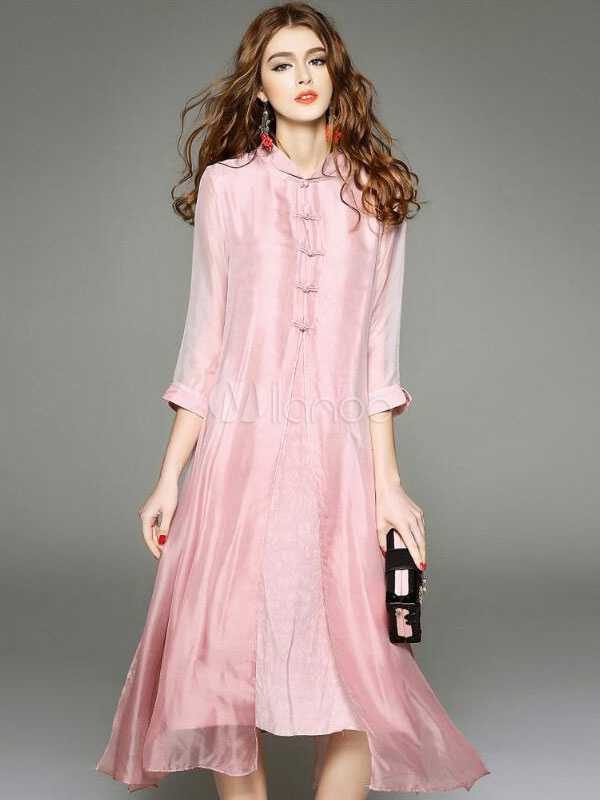 Silk Long Dress Stand Collar 3/4 Length Sleeve Chinese Knot Pleated Layered Women's Elegant Pink Dress