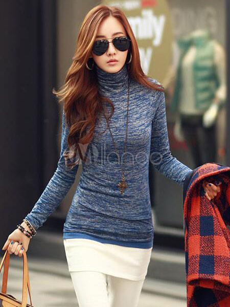 Blue T Shirt High Collar Long Sleeve Comfy Top For Women Cheap clothes, free shipping worldwide