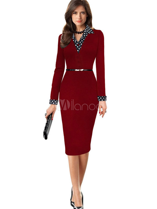Red Bodycon Dress Long Sleeve Spread Polka Dot Print Sexy Vintage Dresses For Women