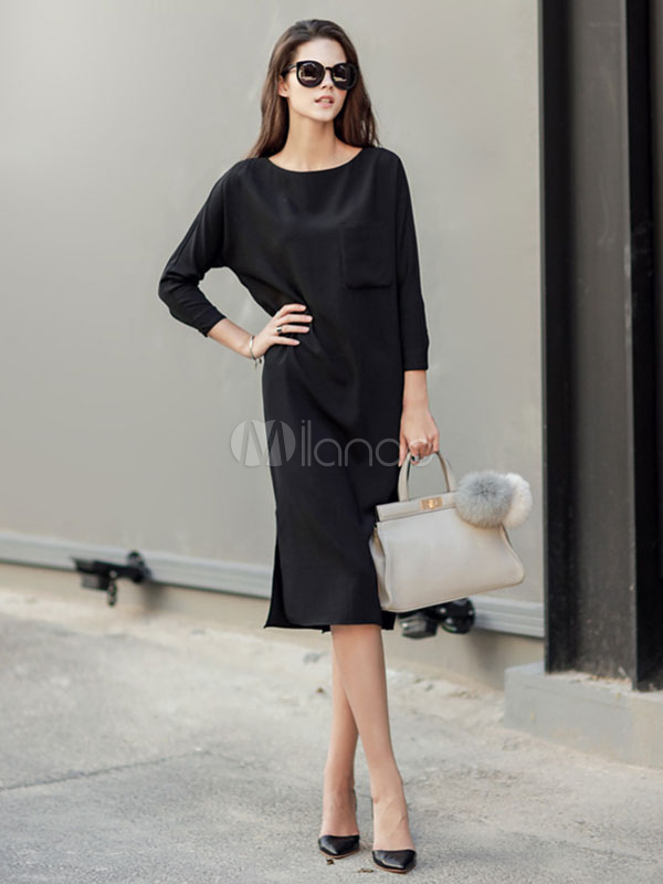 Buy Black Shift Dress Round Neck Long Sleeve Split Sexy Dresses For Women for $22.99 in Milanoo store