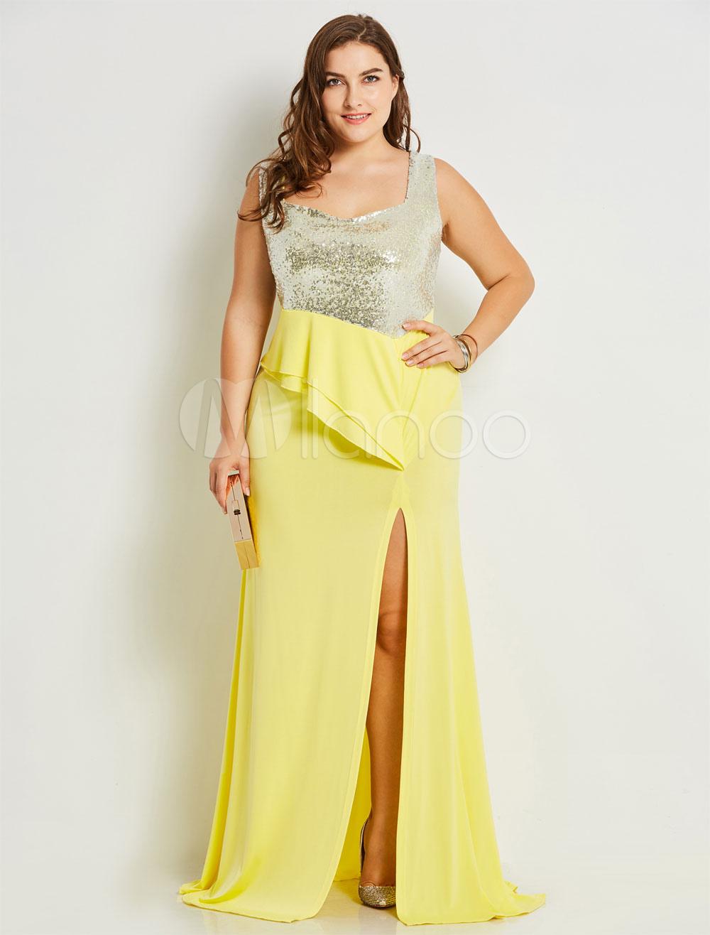 Dresses Plus Size Women Yellow Sleeveless Sequins Peplum Asymmetrical Split Maxi  Dress-No.1 ... bbfdd9144