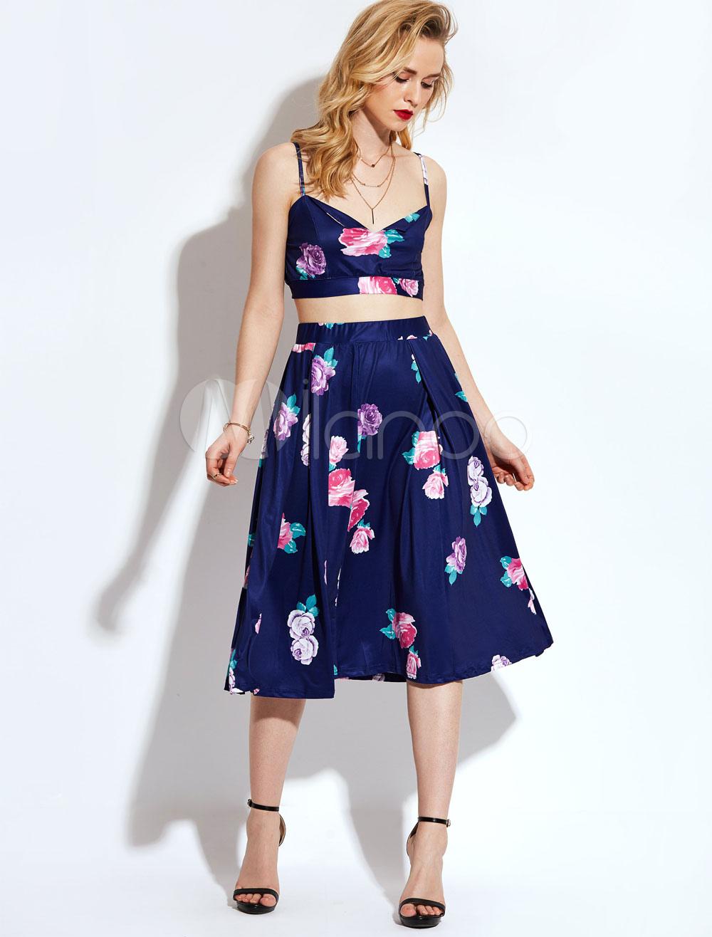 1b14f37d3 ... Conjunto de faldas para mujer Boho Deep Blue Straps Top sin mangas con estampado  floral y ...