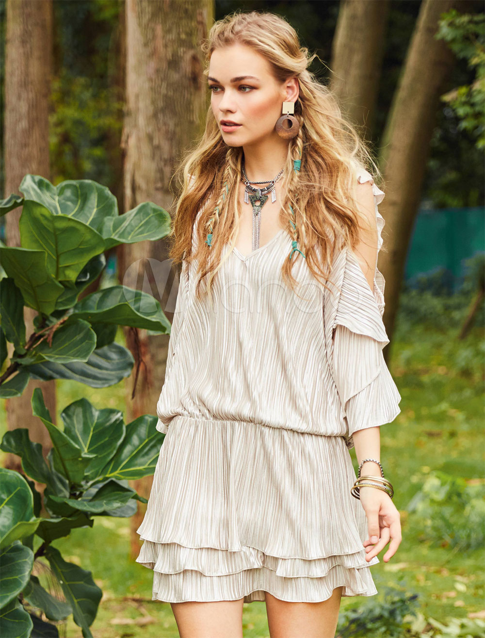 Boho Summer Dress V Neck Three Quarter Sleeve Cold Shoulder Women Mini Dress