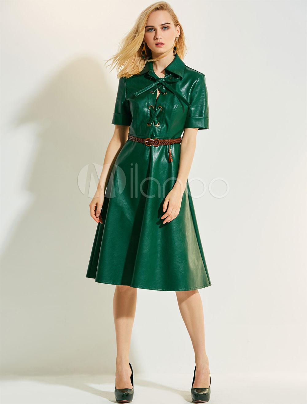 Women Vintage Dress Short Sleeve PU Turndown Collar Criss Cross Skater Dress