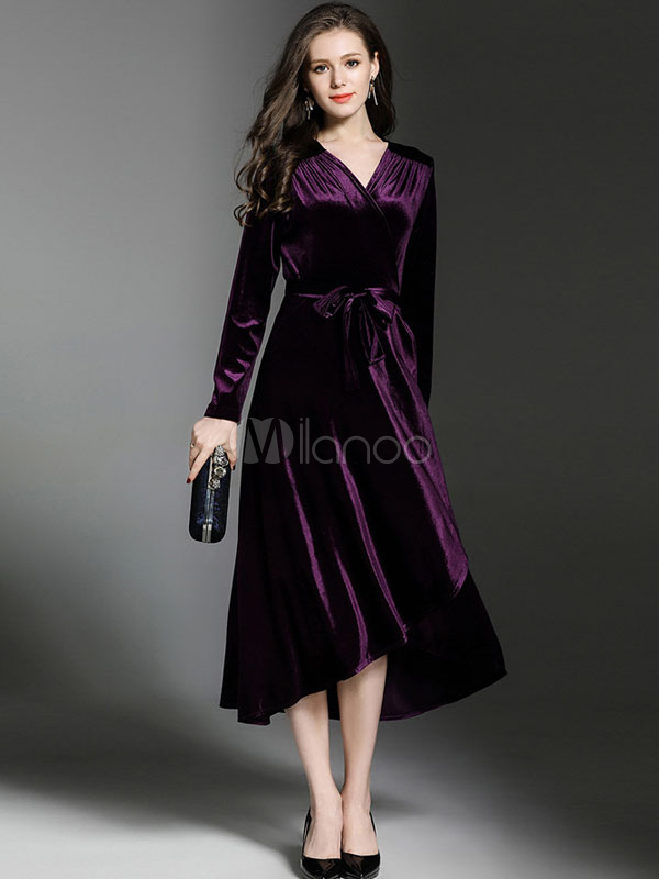 Buy Velour Long Dress V Neck Long Sleeve Waist Tie Pleated Irregular Hem Women's Elegant Wrap Dress for $41.39 in Milanoo store
