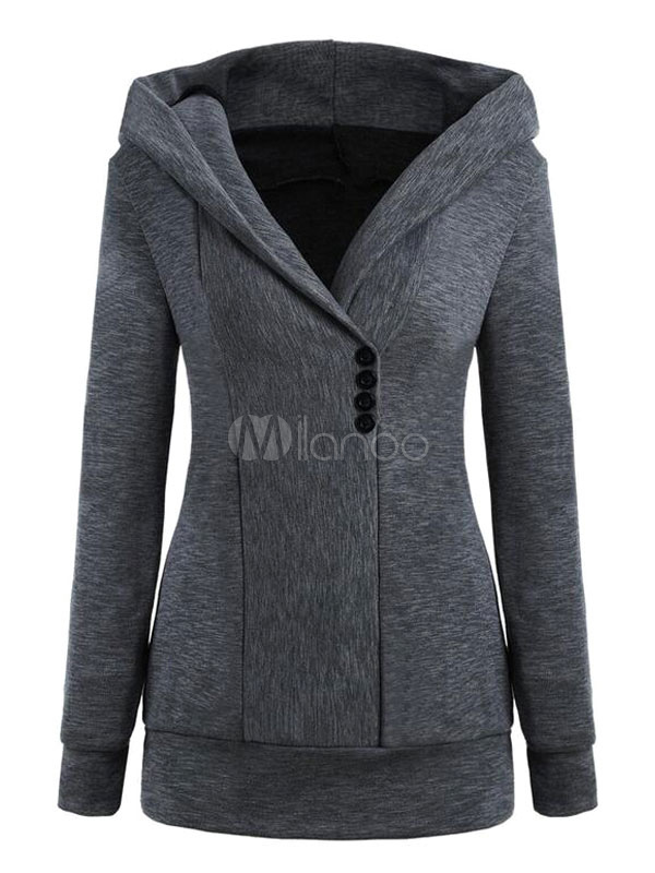 Women's Hoodie Jacket Long Sleeve Hooded Deep Grey Sweatshirt Cheap clothes, free shipping worldwide