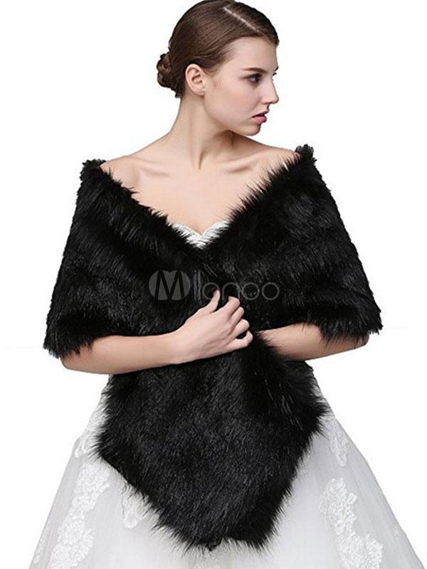 Faux Fur Stole Women's Grey Winter Wrap