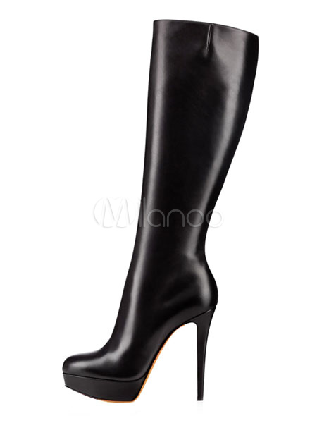 rendimiento superior 100% genuino tienda de descuento Botas a la rodilla de cuero auténtico negras Color liso estilo moderno