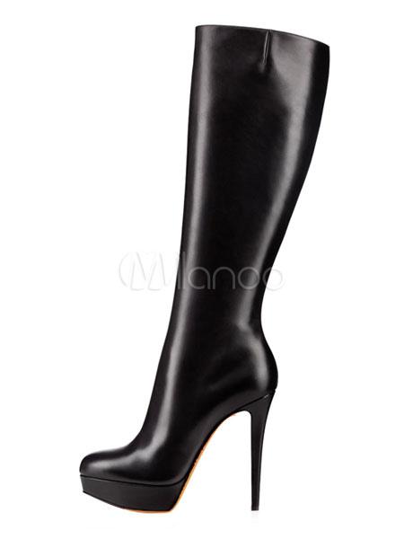 High Heel Boots Wide Calf Boots Black Leather Platform Women Boots