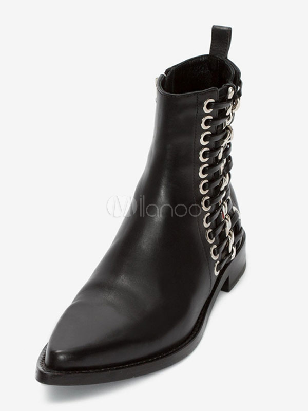 62fde01b9c2 Black Ankle Boots Leather Women's Pointed Toe Metal Detail Zip Up Flat  Booties