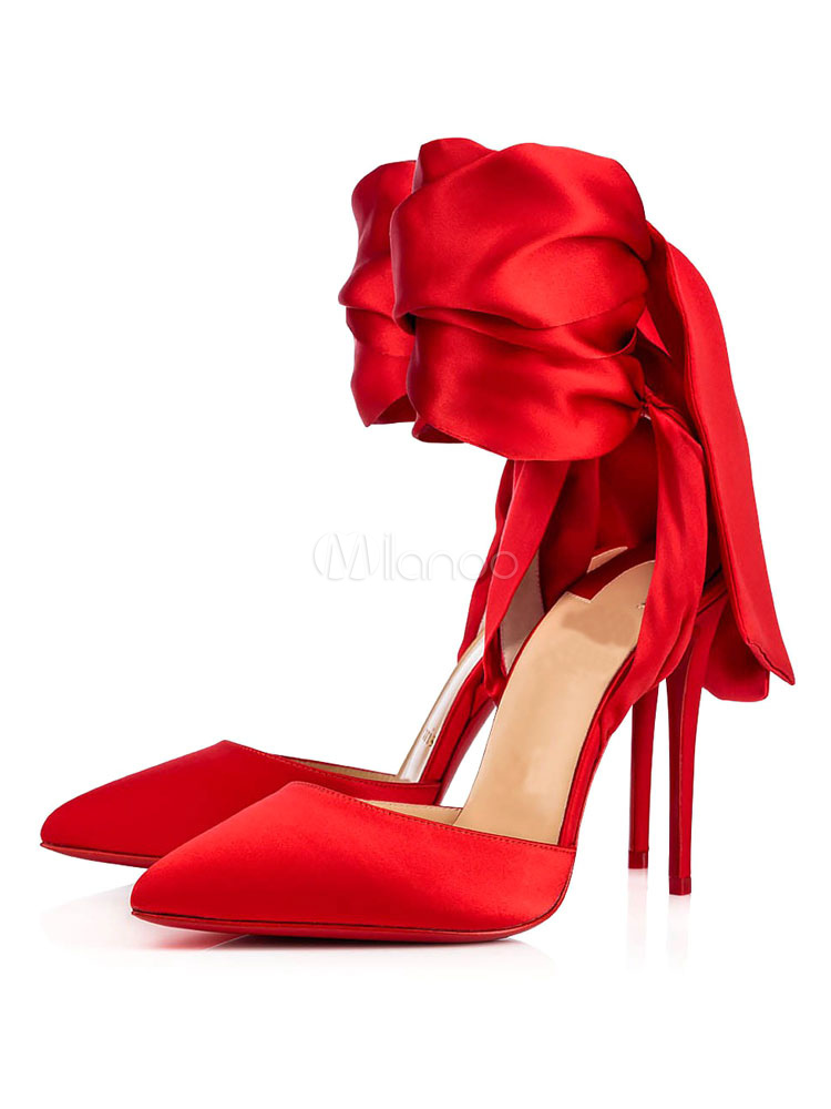 125988ee Red Evening Shoes Satin Pointed Toe Bow Lace Up High Heels For Women-No.