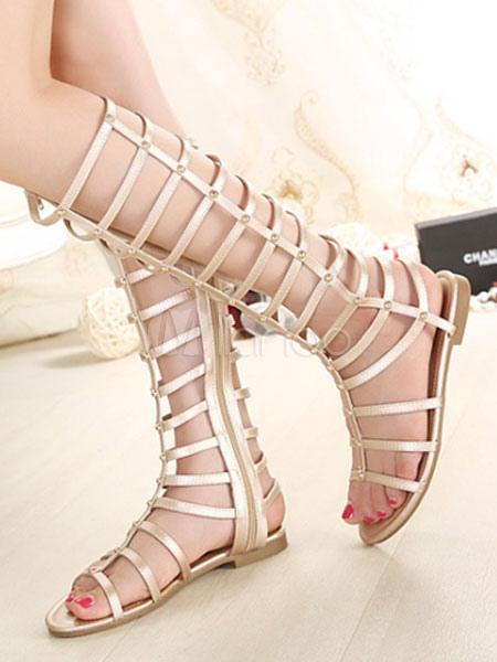 Champagne Gladiator Sandals Women's Open Toe Zip Up Flat Sandals